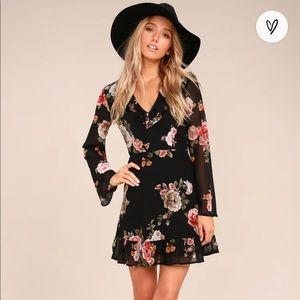 Lulu's Alive with Artistry Black Floral Dress